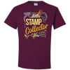 Travel Themed T Shirt: Stamp Collector Maroon