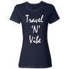 Travel Themed T-Shirt: Travel N Vibe Ladies Navy Blue
