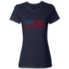 Travel Themed T-Shirt: Travel Flag Ladies Navy Blue