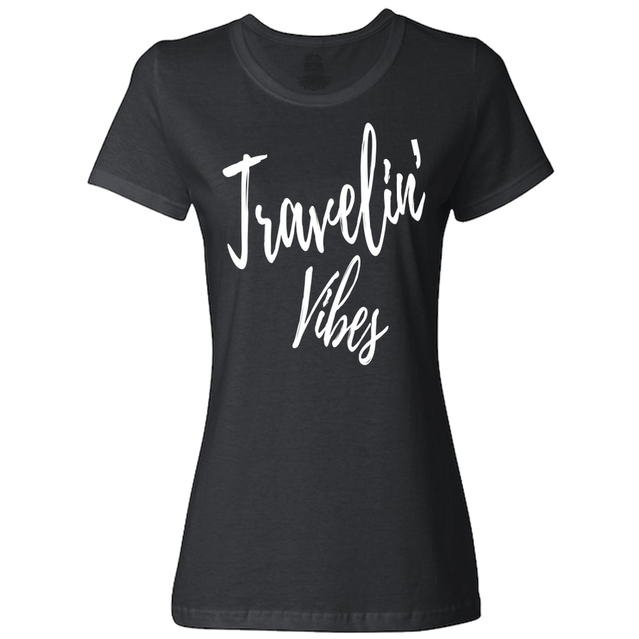 Travel Themed T-Shirt: Travelin' Vibes Ladies Light Gray