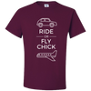 Travel Themed T-Shirt: Ride or Fly Chick Maroon