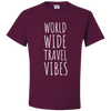 Travel Themed T-Shirt: Worldwide Travel Vibes Maroon