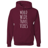Travel Themed Hoodie: Worldwide Travel Vibes Maroon