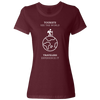 Travel Themed T-Shirt: Tourist vs Traveler Ladies White Words Maroon