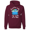 Travel Themed Hoodie: One Couch at a Time White Words Maroon