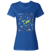 Travel Themed T Shirt: Iconic Places Ladies Royal Blue