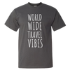 Travel Themed T-Shirt: Worldwide Travel Vibes Gray