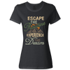 Travel Themed T-Shirt: Escape the Routine Ladies Black