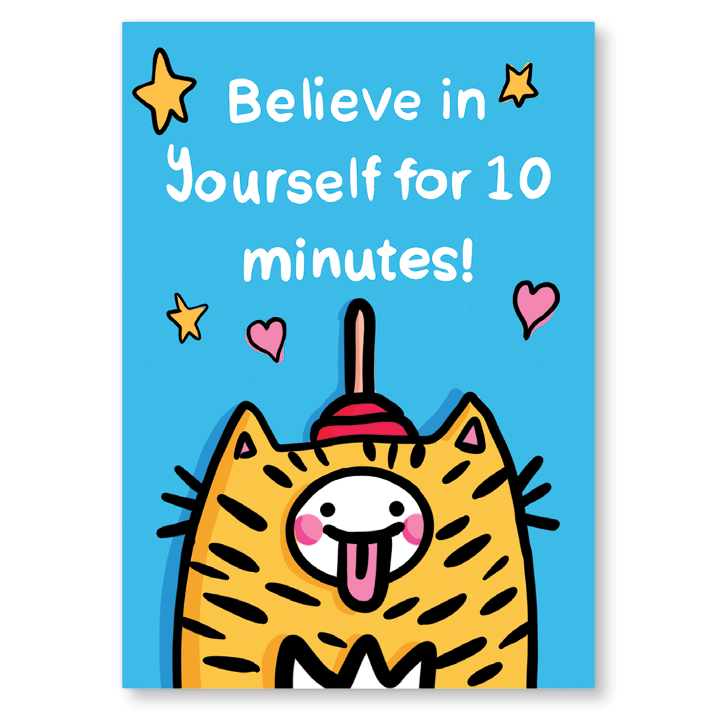 Believe In Yourself For 10 Minutes Motivational Postcard by The Happy Chappo - Whale and Bird