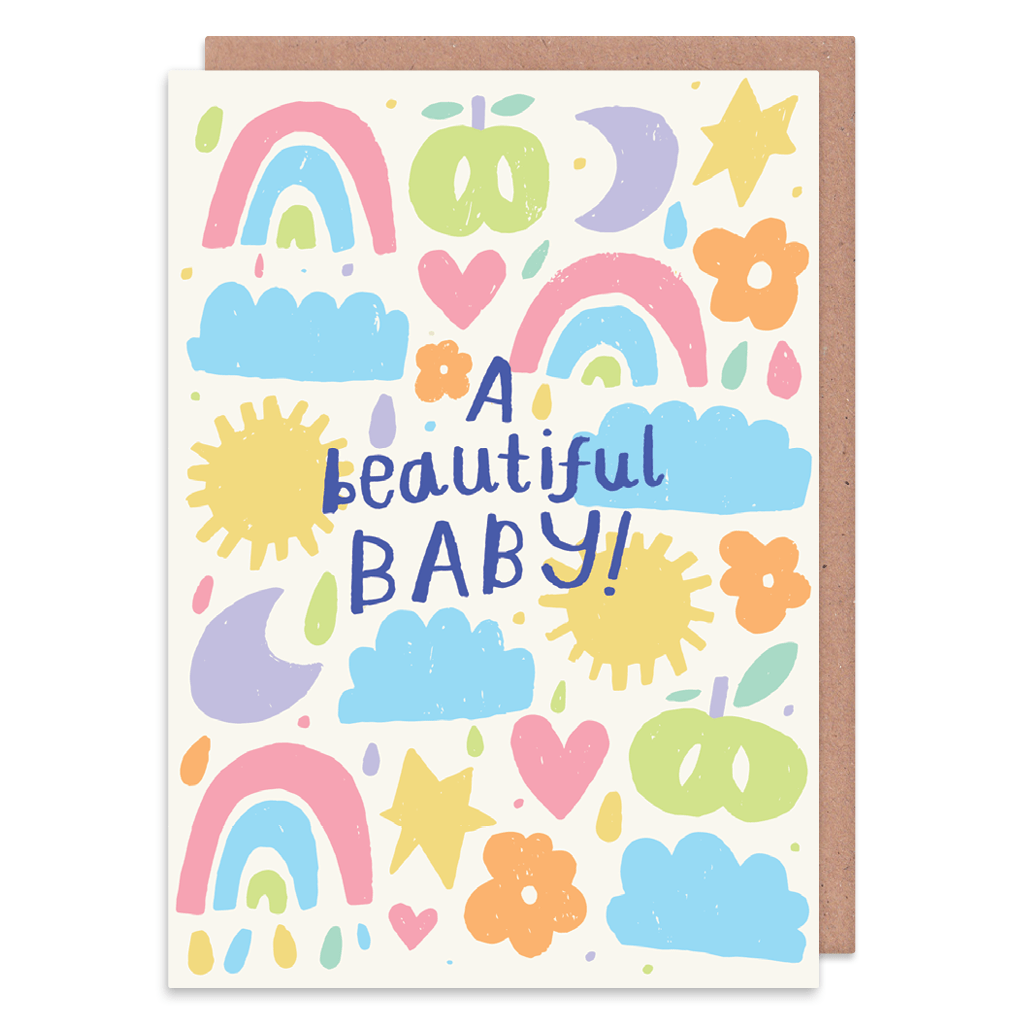 A Beautiful Baby New Baby Card by Nikki Miles - Whale and Bird