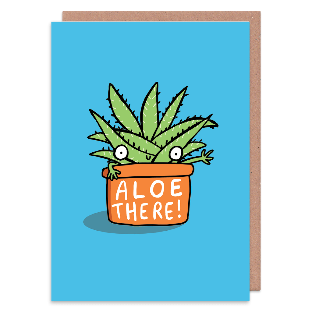 Aloe There Greeting Card by Katie Abey - Whale and Bird