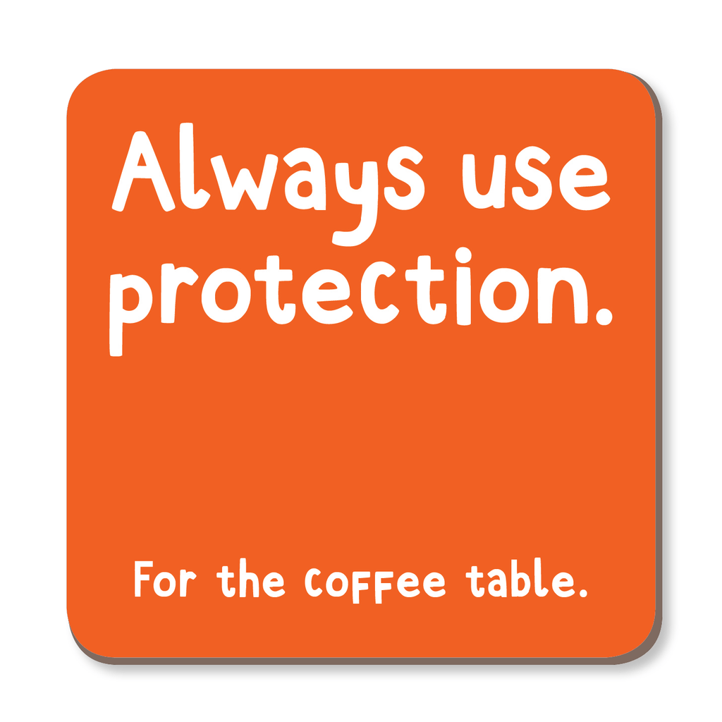 Always Use Protection For The Coffee Table Coaster by The Spork Collection - Whale and Bird