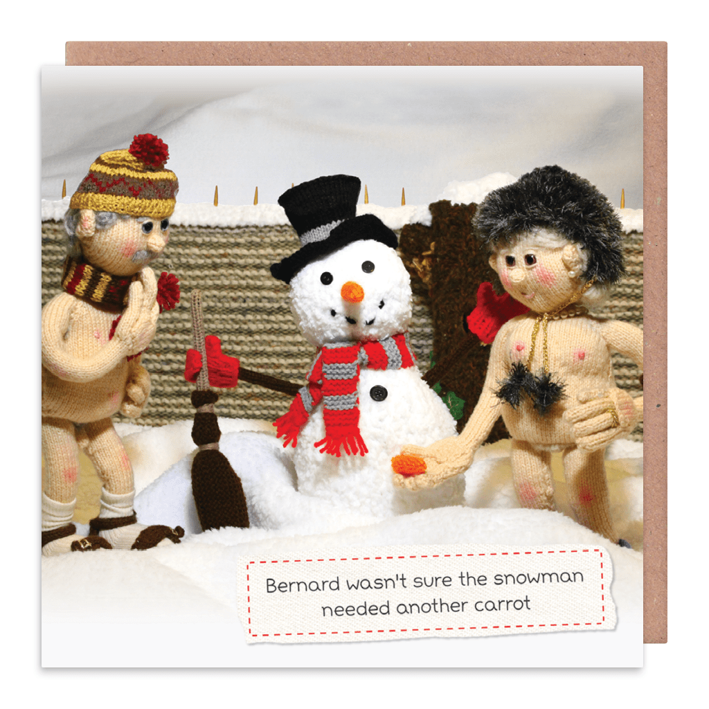 Another Carrot For The Snowman Christmas Card by Nudinits - Whale and Bird