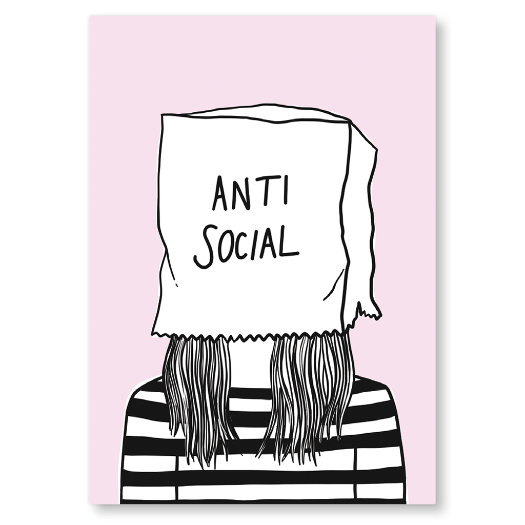 Anti Social Postcard by Corrin Strain - Whale and Bird