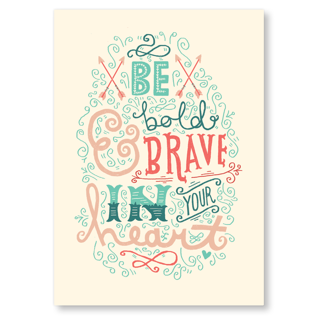 Be Bold And Brave In Your Heart Postcard by The Happy Pencil - Whale and Bird