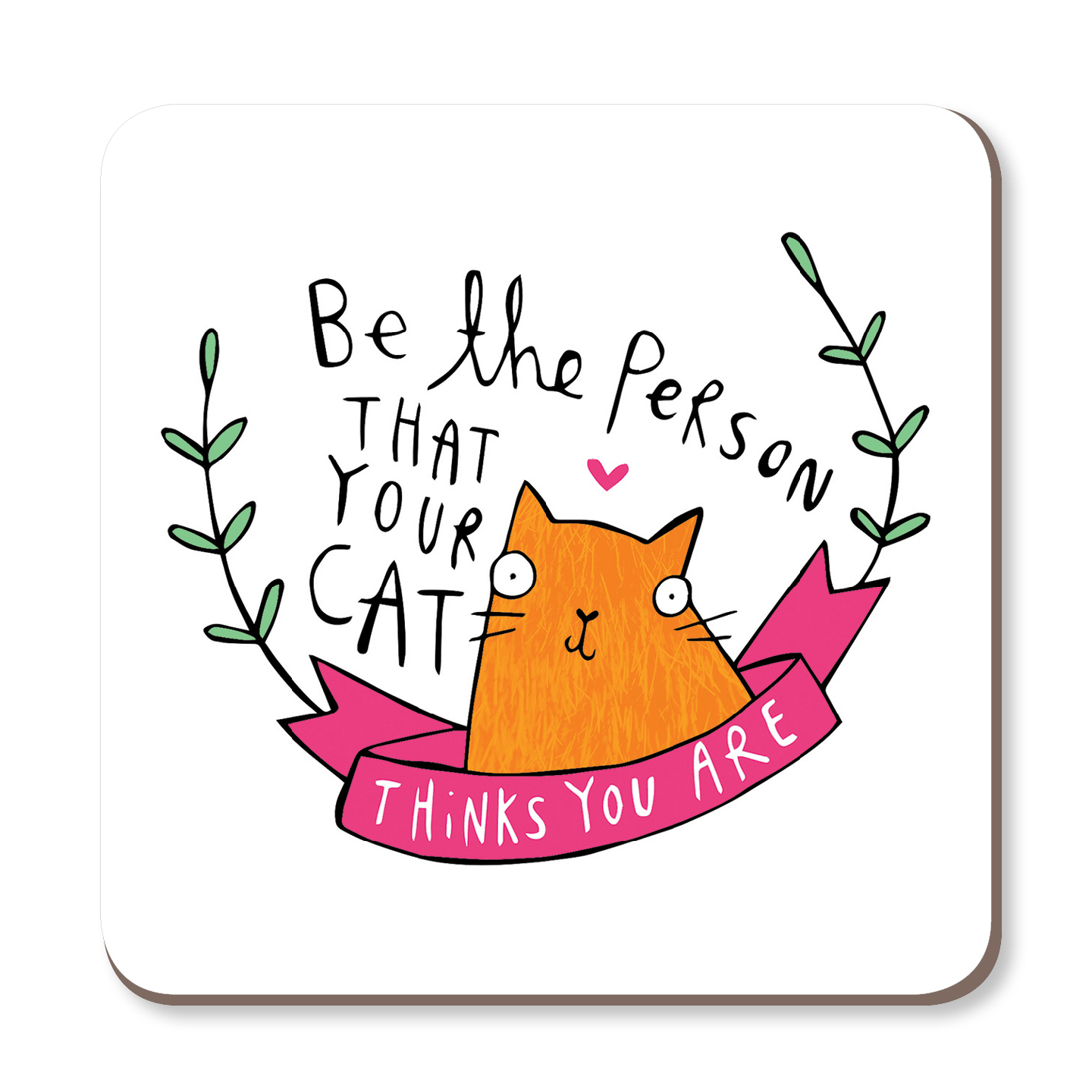 Be The Person Your Cat Thinks You Are Coaster by Katie Abey - Whale and Bird