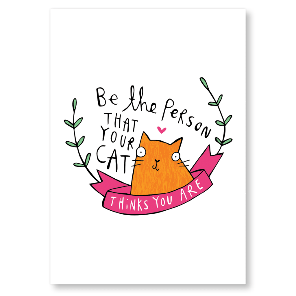 Be The Person Your Cat Thinks You Are Postcard by Katie Abey - Whale and Bird