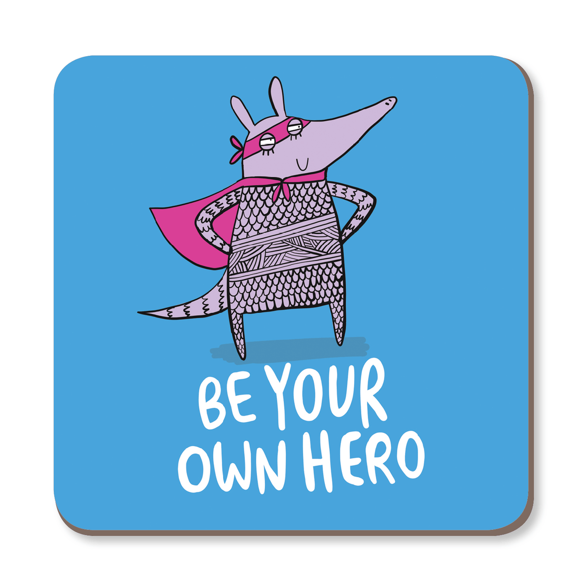 Be Your Own Hero Motivational Coaster by Katie Abey - Whale and Bird
