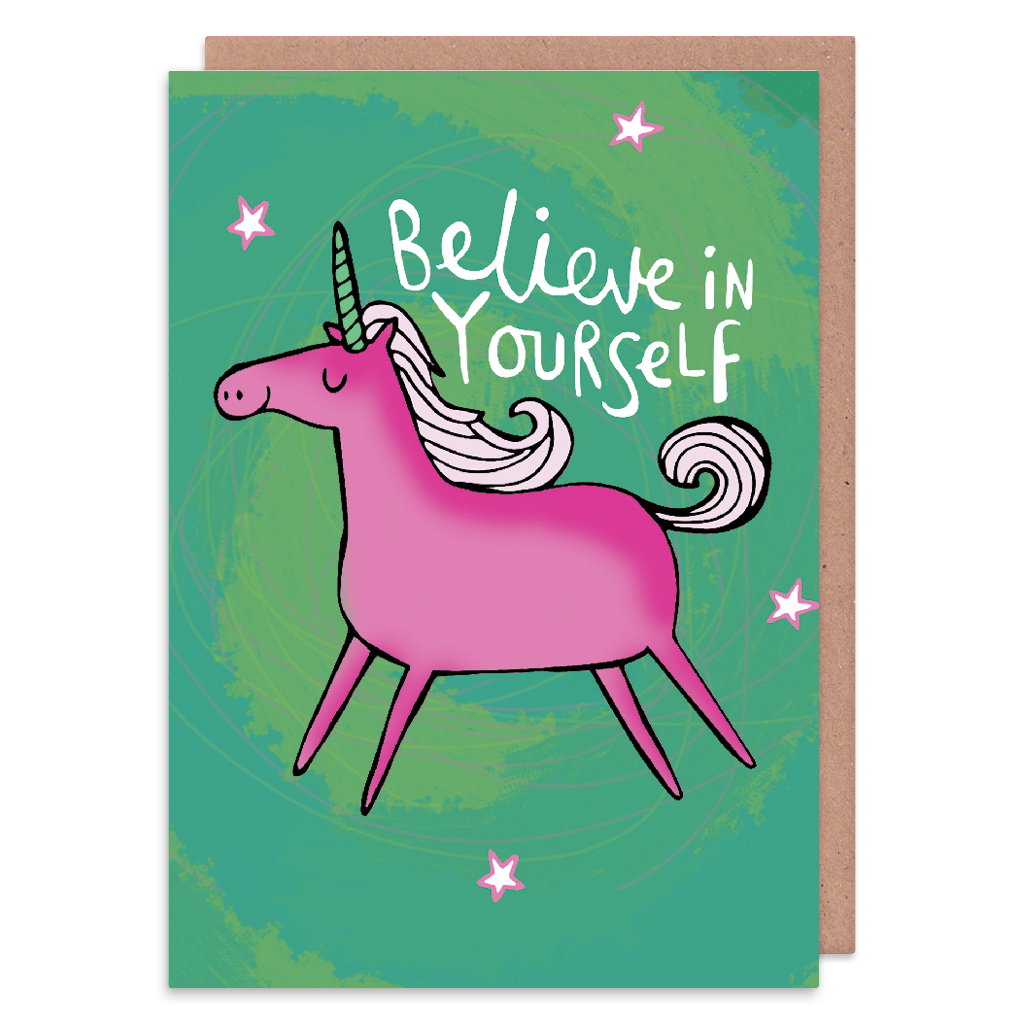 Believe  In Yourself Unicorn Greeting Card by Katie Abey - Whale and Bird