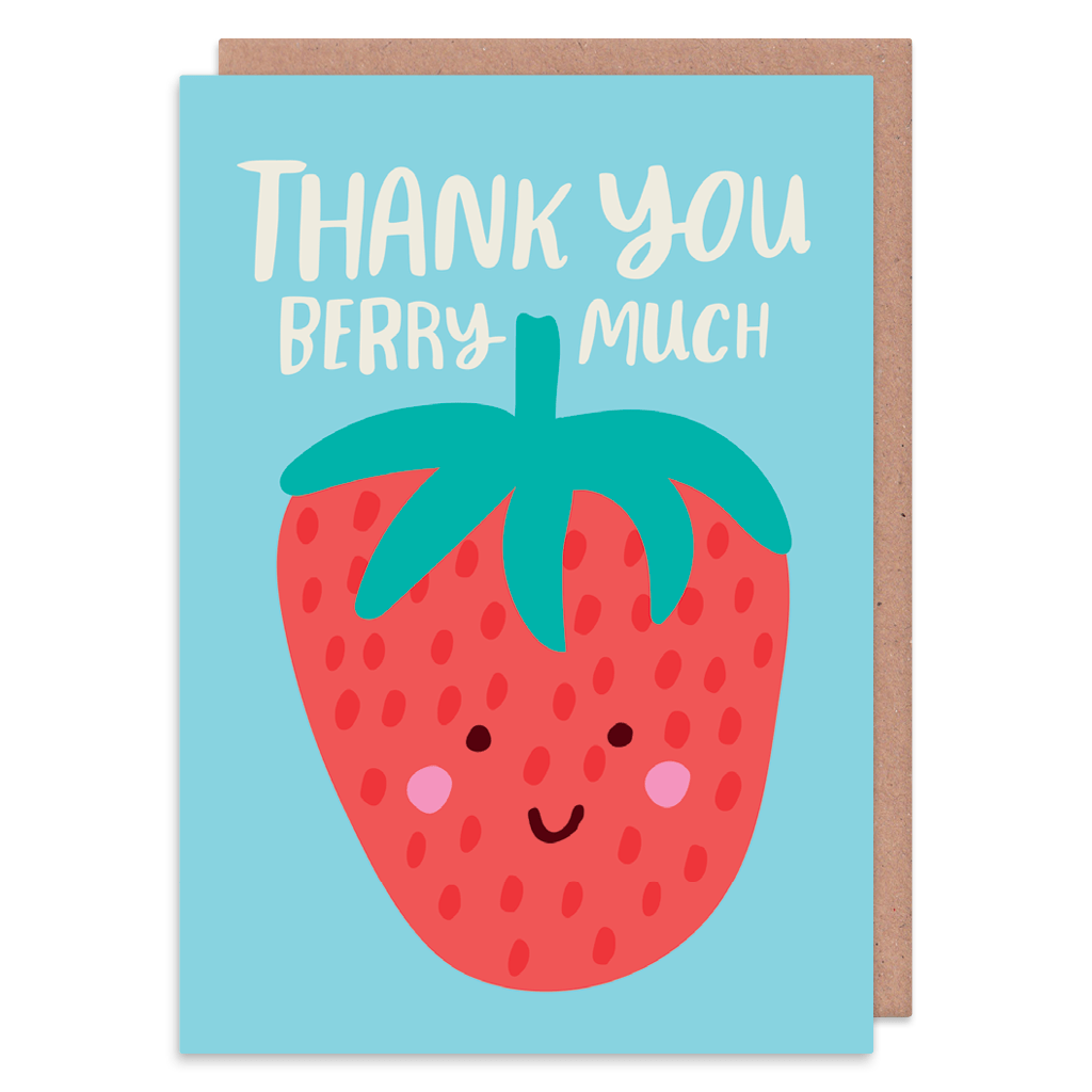 Berry Much Strawberry Thank You Card by Lisa Greener - Whale and Bird