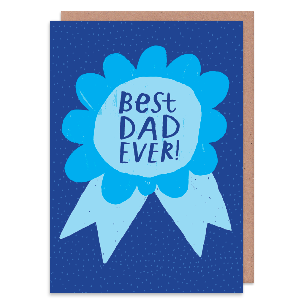 Best Dad Ever Rosette Greeting Card by Nikki Miles - Whale and Bird