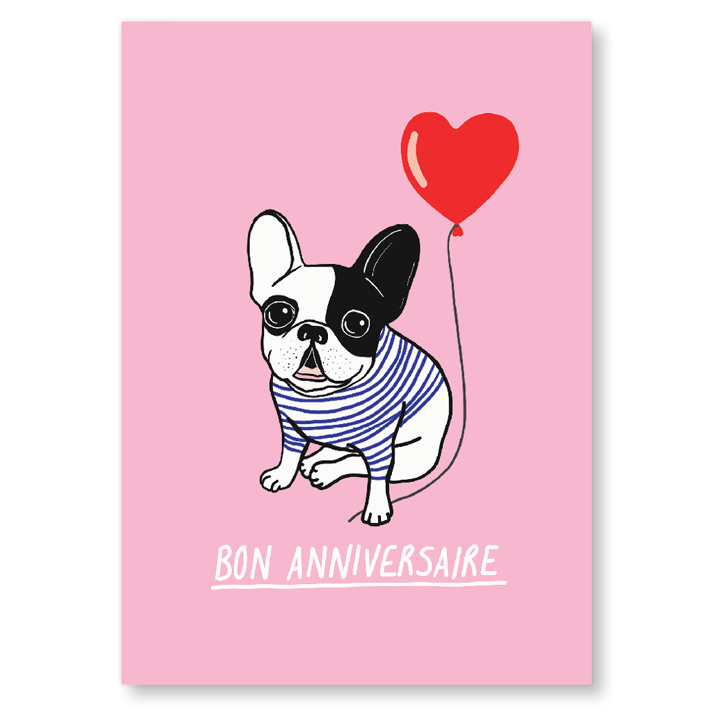 Bon Anniversaire French Bulldog Postcard by Corrin Strain - Whale and Bird