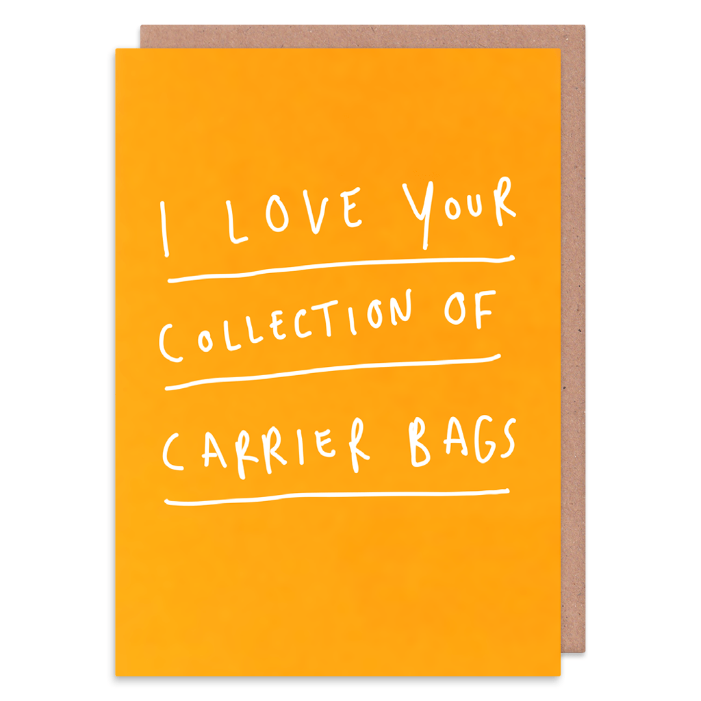 I Love Your Collection Of Carrier Bags Greeting Card by George The Cardmaker - Whale and Bird