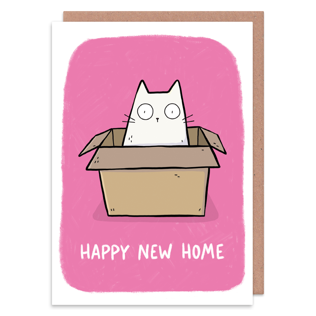 Cat In A Box Happy New Home Card
