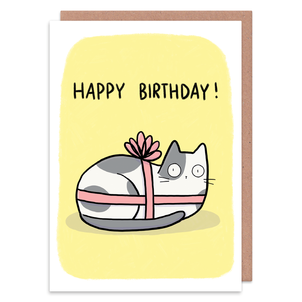 Cat Present Birthday Card