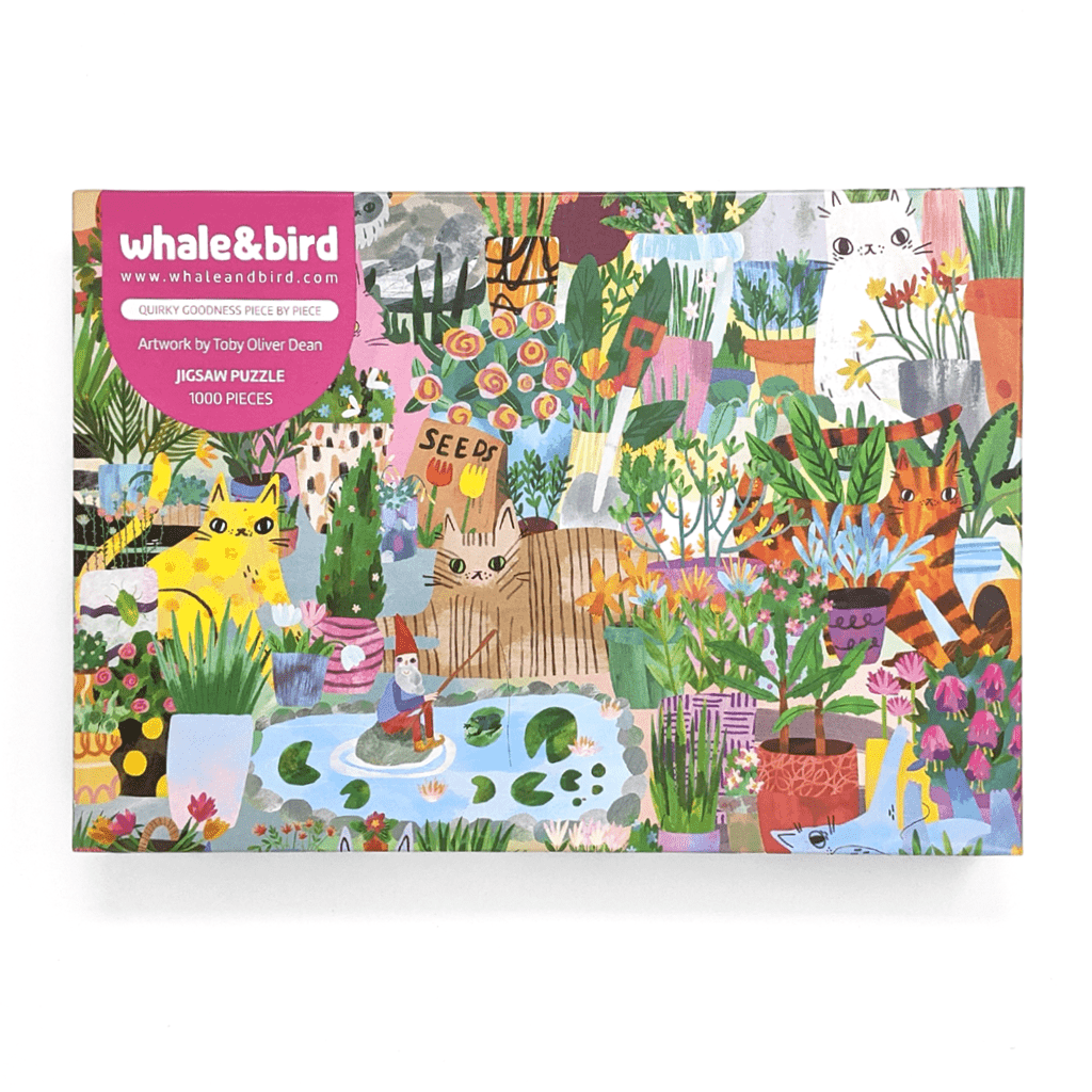 Cats In The Garden 1000 Piece Jigsaw Puzzle by Toby I Like Cats - Whale and Bird