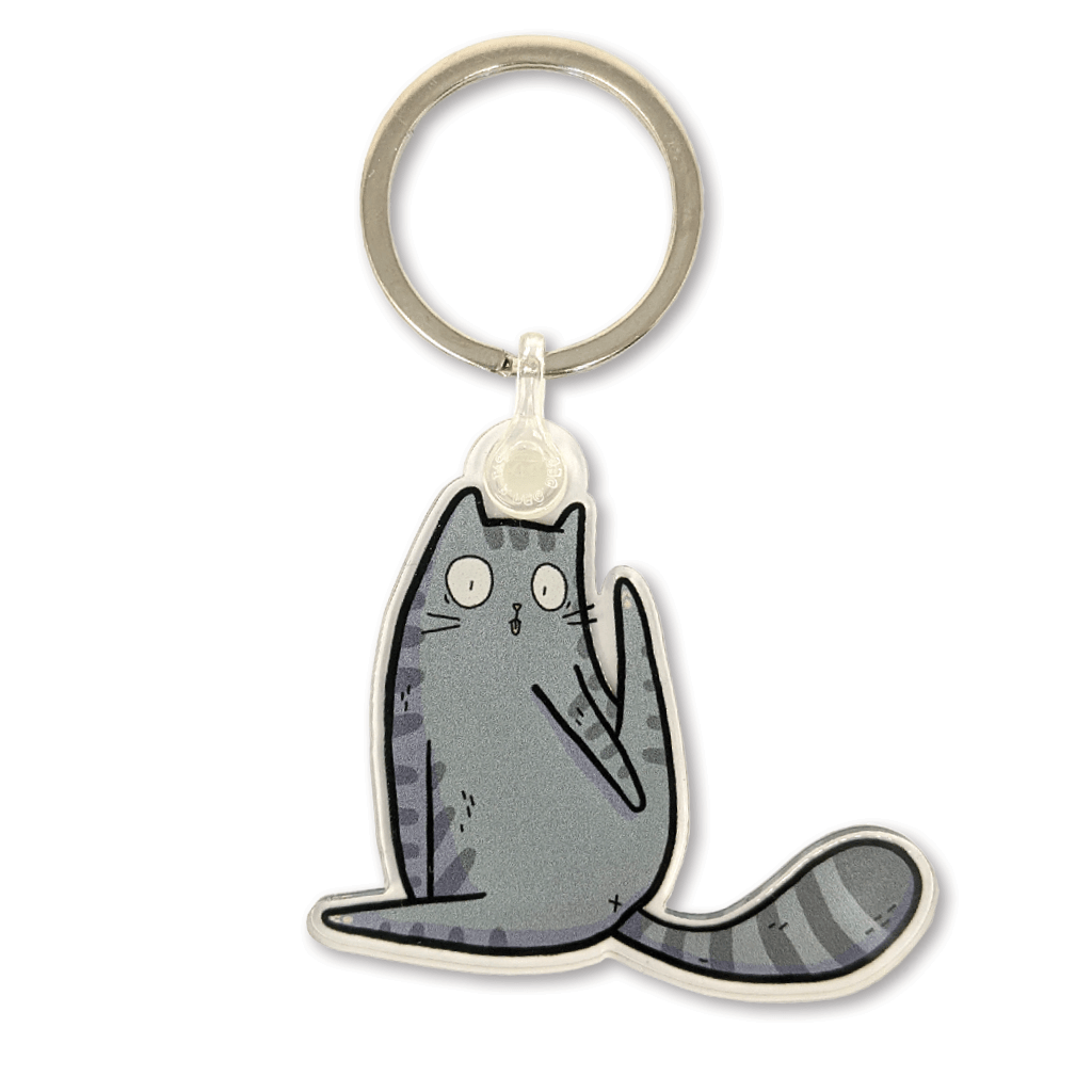 Cheeky Yoga Cat Keyring by Camille Medina - Whale and Bird