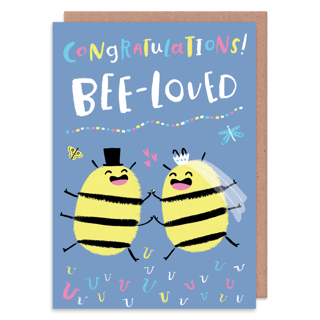 Congratulations Bee-loved Wedding Card by Lisa Greener - Whale and Bird