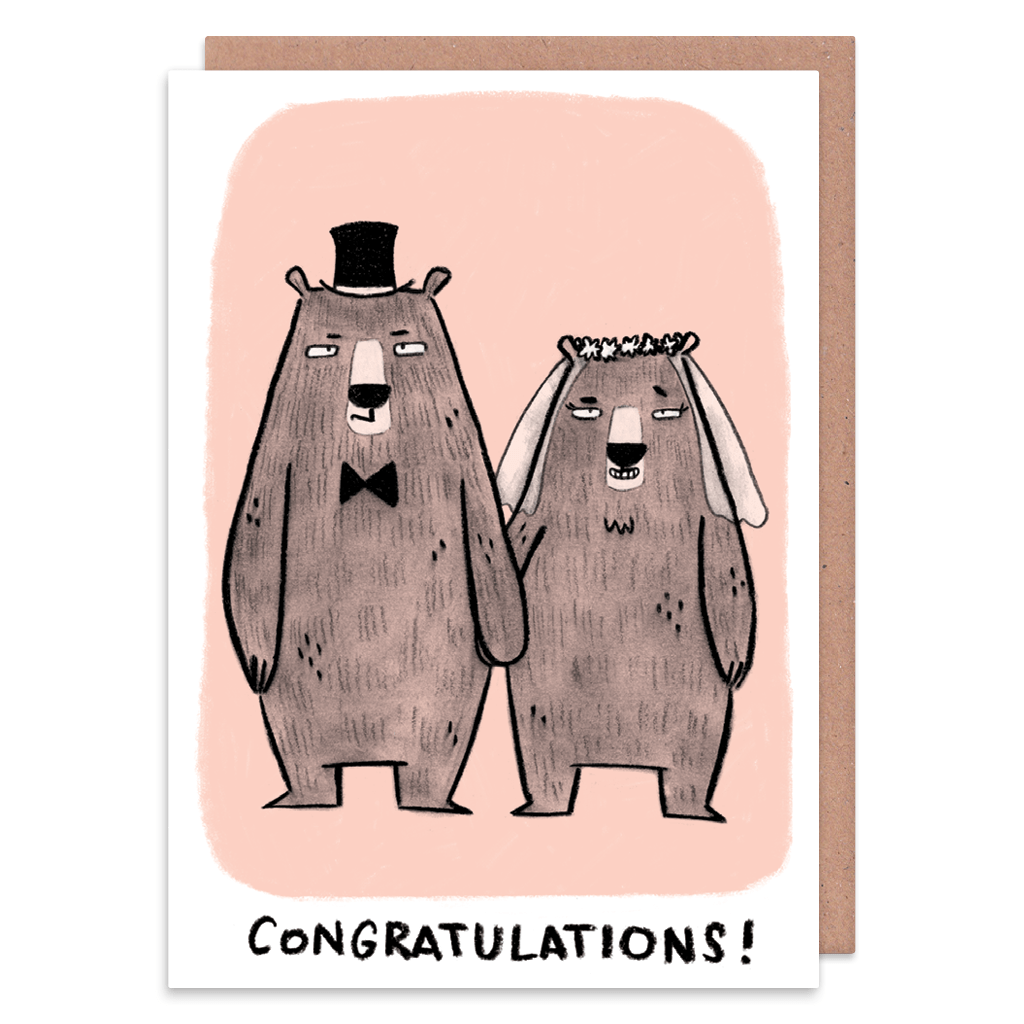 Congratulations To The Married Couple! Grumpy Bears Wedding Card by Camille Medina - Whale and Bird