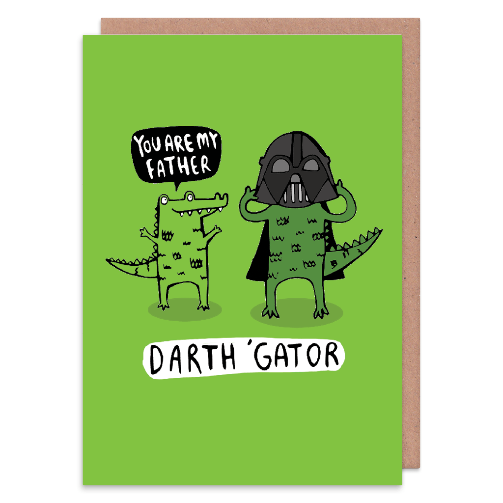 Darth Gator Greeting Card by Katie Abey - Whale and Bird