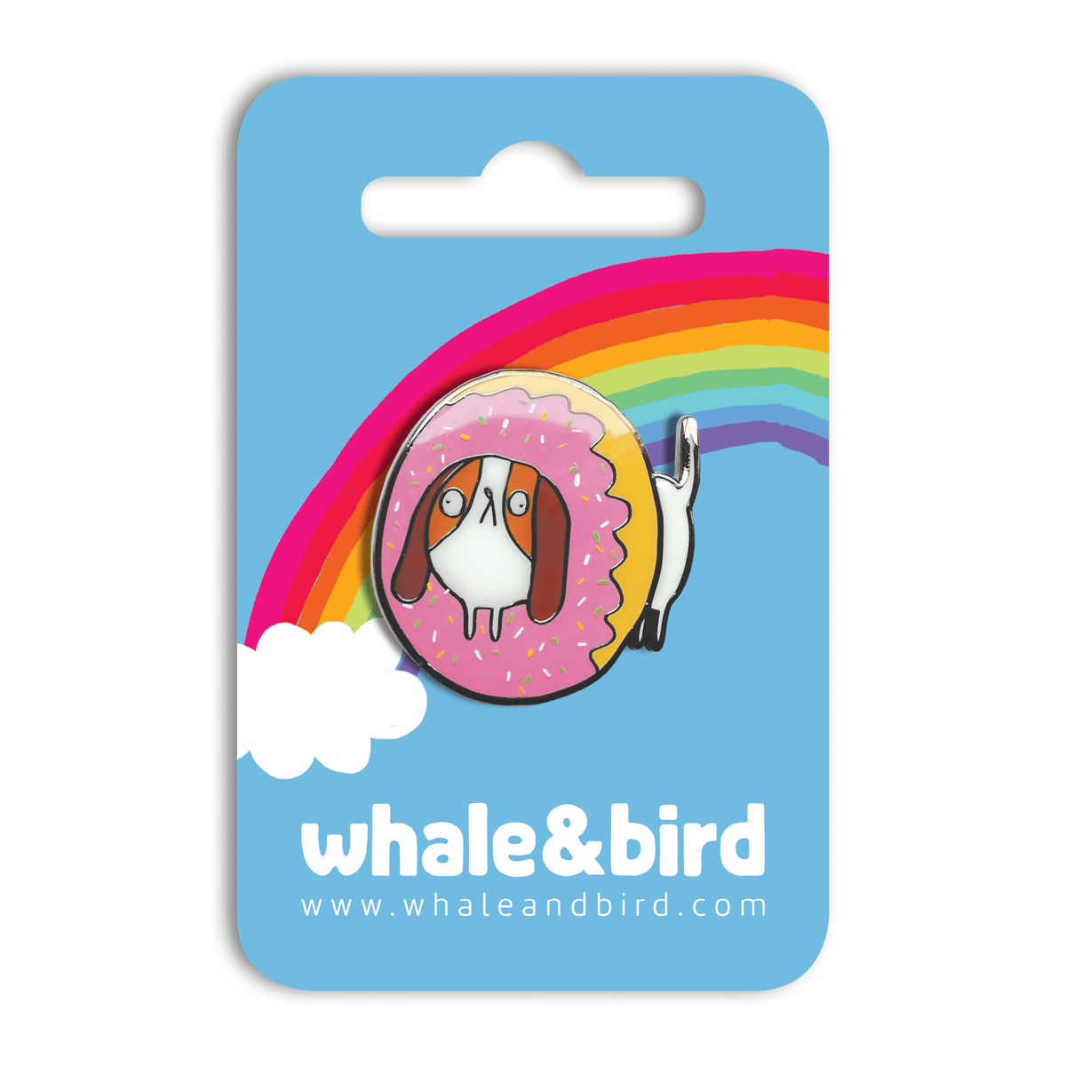 Dognut Hard Enamel Pin by Katie Abey - Whale and Bird