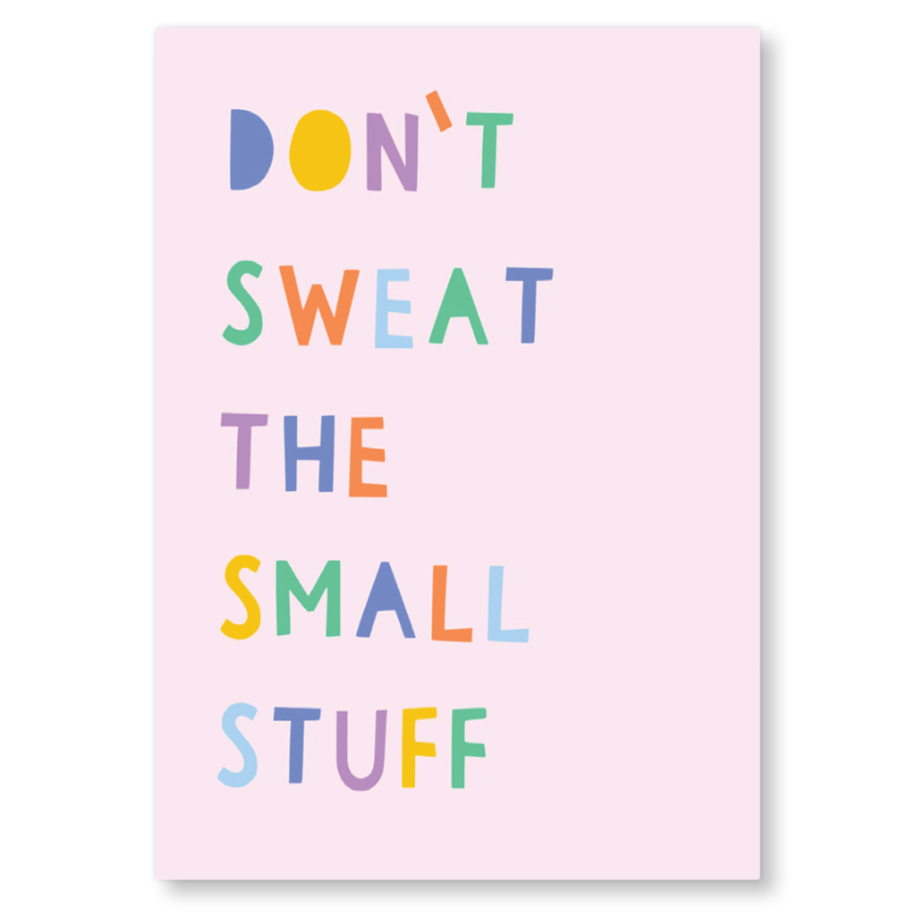 Don't Sweat The Small Stuff Motivational Postcard by Zoe Spry - Whale and Bird