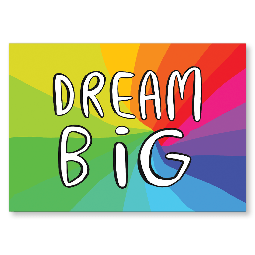 Dream Big Rainbow Postcard by Katie Abey - Whale and Bird