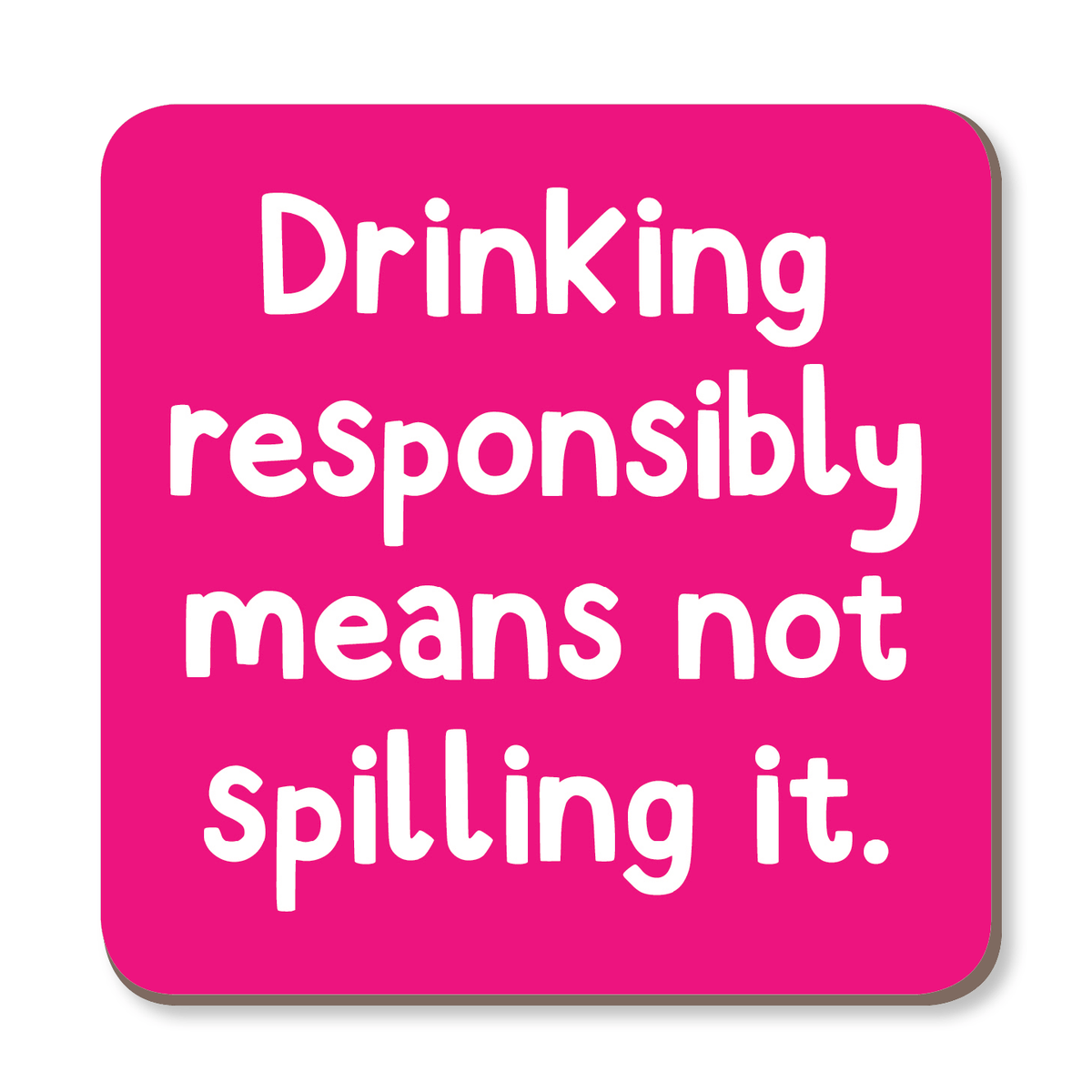Drinking Responsibly Means Not Spilling It Coaster by The Spork Collection - Whale and Bird