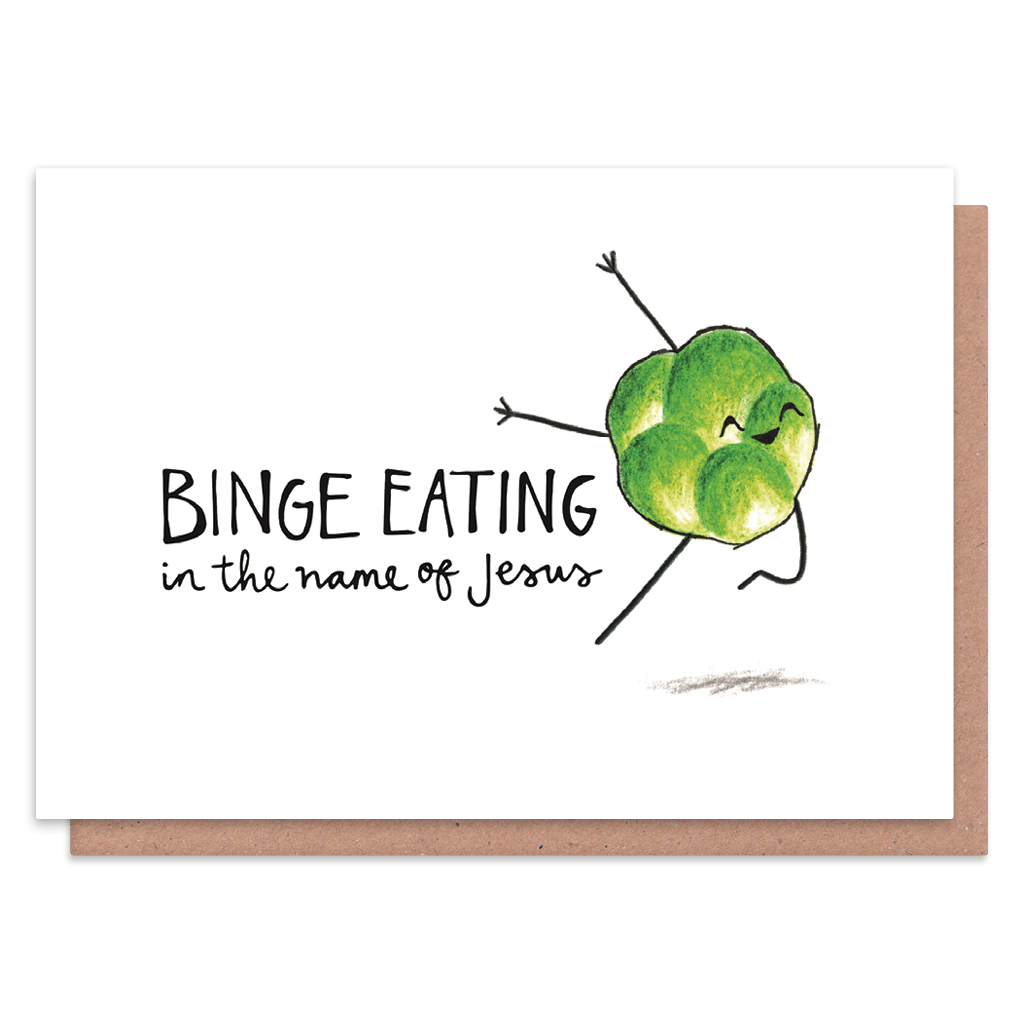 Eating In The Name of Jesus Sprout Christmas Card by Holly Rutter - Whale and Bird