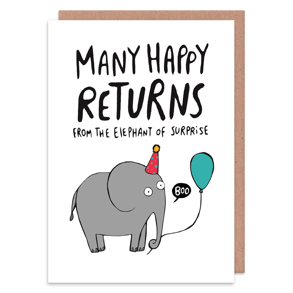 Elephant Of Surprise Birthday Card by Katie Abey - Whale and Bird
