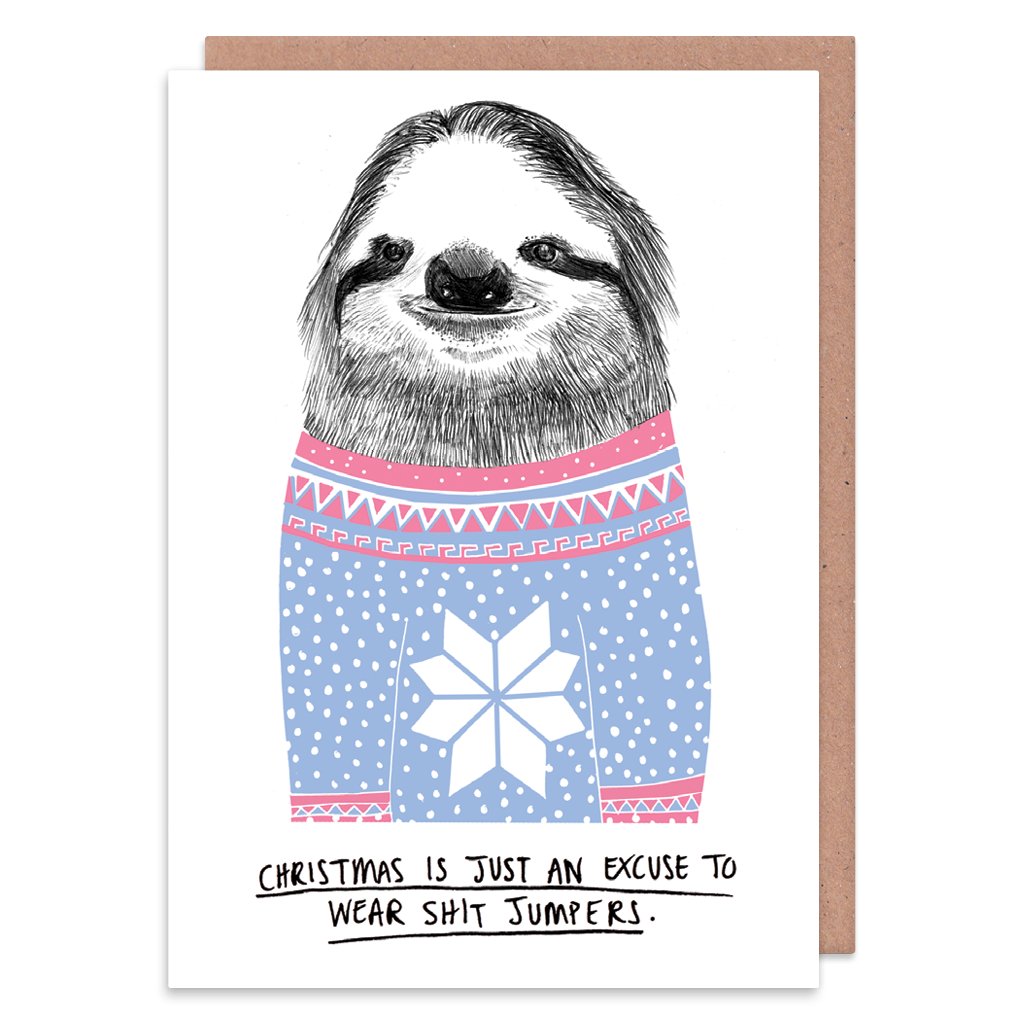Excuse To Wear Shit Jumpers Christmas Card by Charly Clements - Whale and Bird