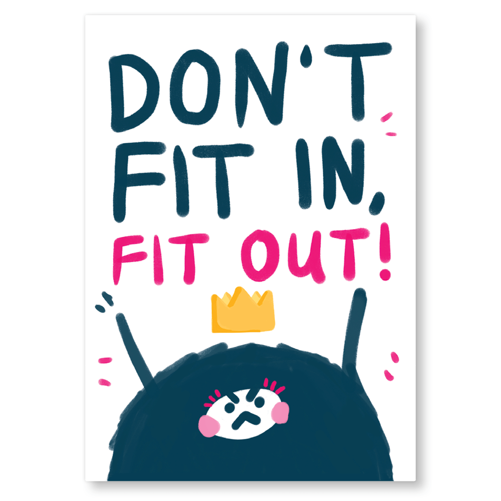 Don't Fit In, Fit Out! Postcard by The Happy Chappo - Whale and Bird