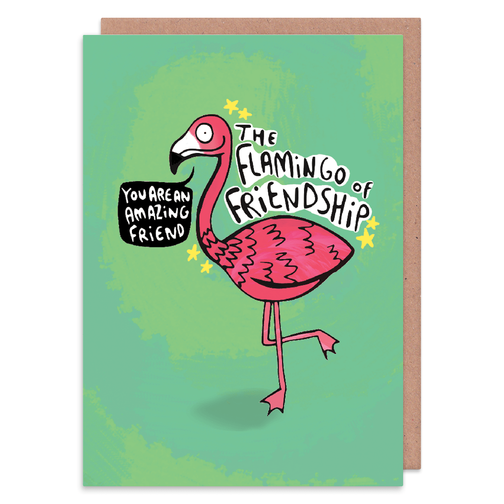 The Flamingo Of Friendship Greeting Card by Katie Abey - Whale and Bird