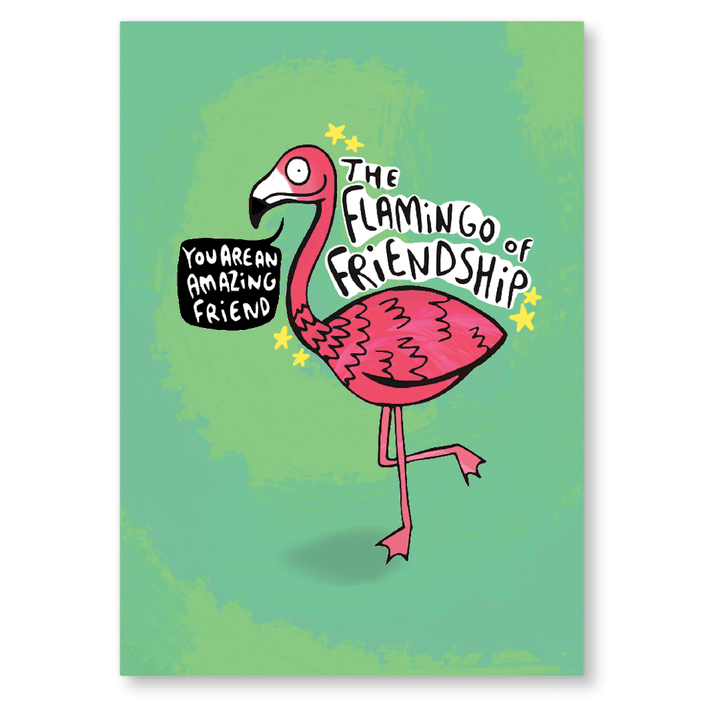 Flamingo Of Friendship Postcard by Katie Abey - Whale and Bird