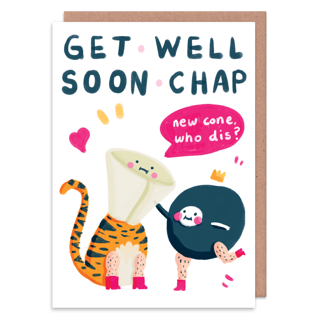 Get Well Soon Chap Greeting Card by The Happy Chappo - Whale and Bird