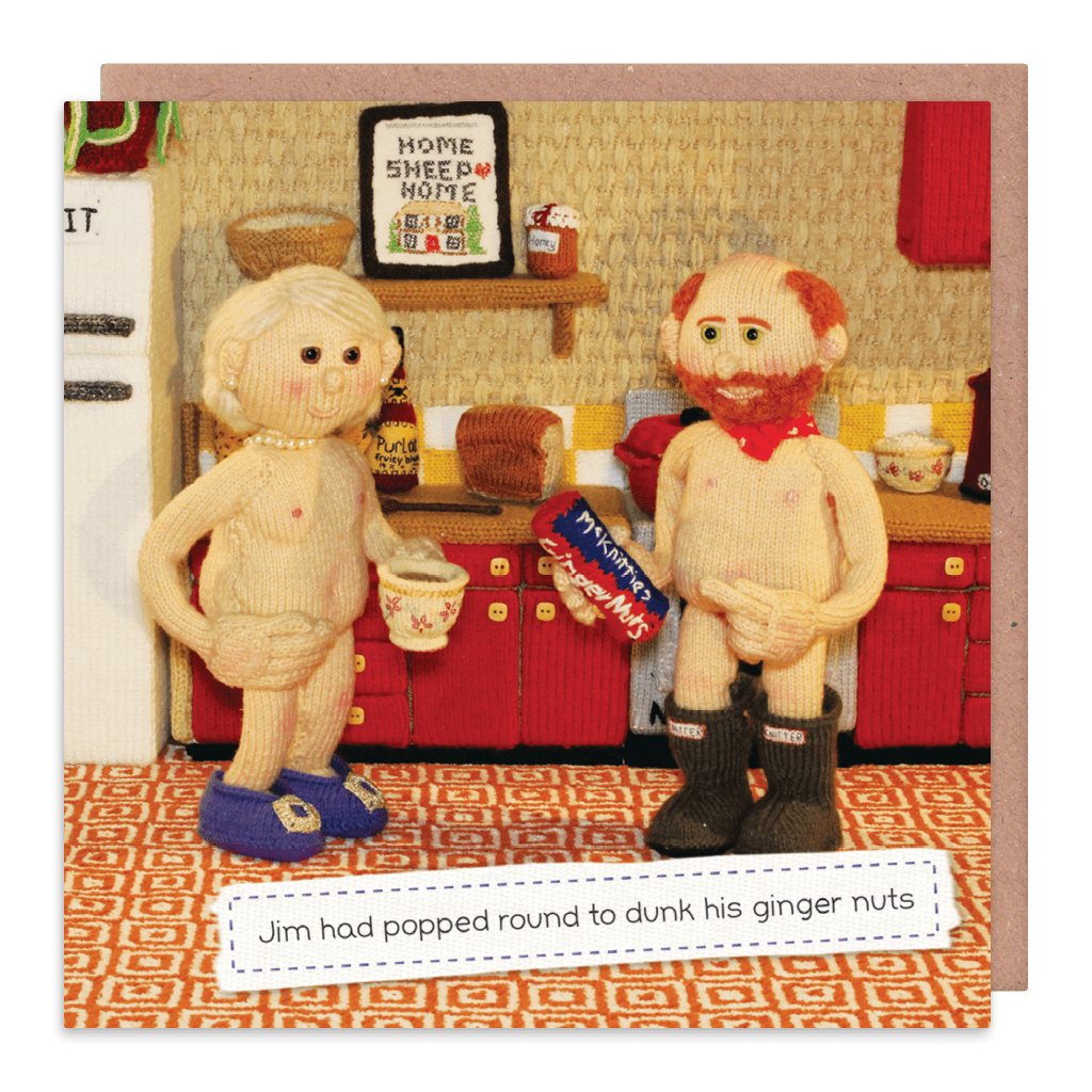Dunk His Ginger Nuts Greeting Card by Nudinits - Whale and Bird