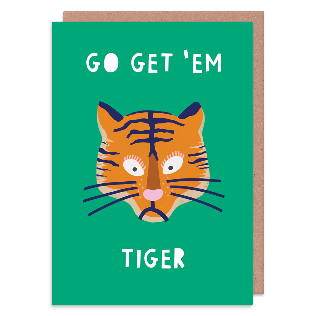 Go Get 'Em Tiger Good Luck Card by Zoe Spry - Whale and Bird