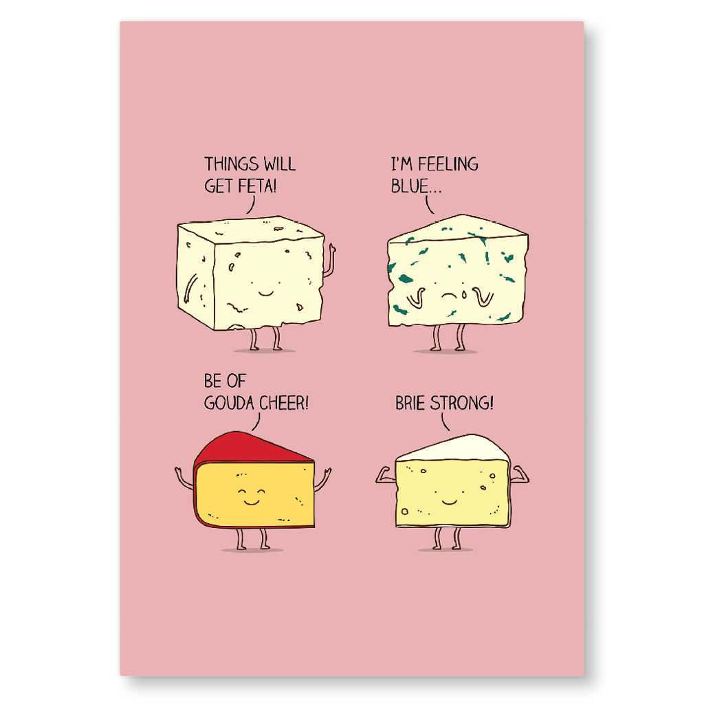 Gouda Cheer And Brie Strong Postcard by Milkyprint - Whale and Bird