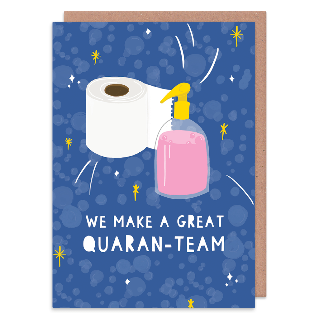 Great Quaran-Team Greeting Card by Nikki Miles - Whale and Bird