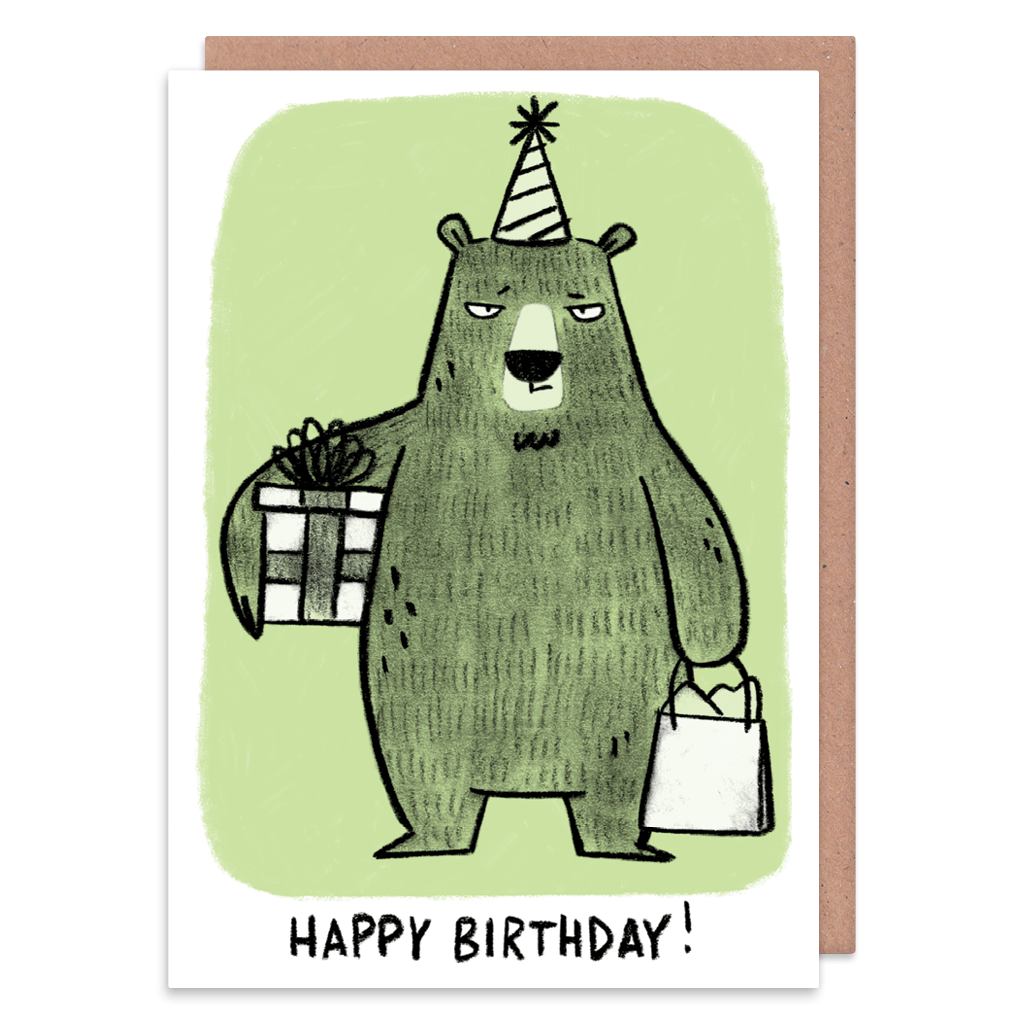 Grumpy Bear With Presents Birthday Card by Camille Medina - Whale and Bird